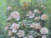 Roser med Fugl 40x35 + ramme     SOLGT