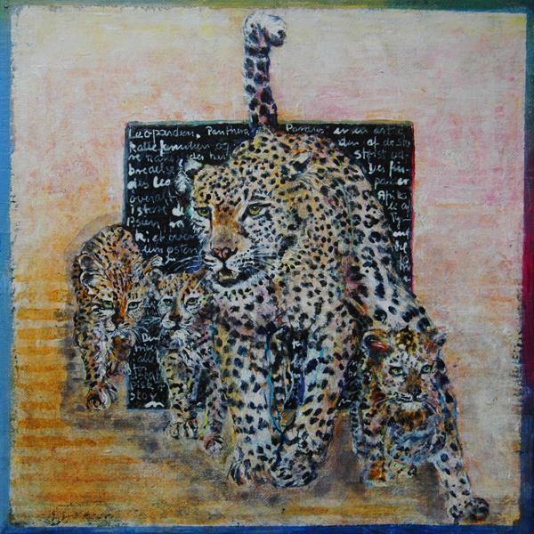 Leopard med unge, 30x30 cm