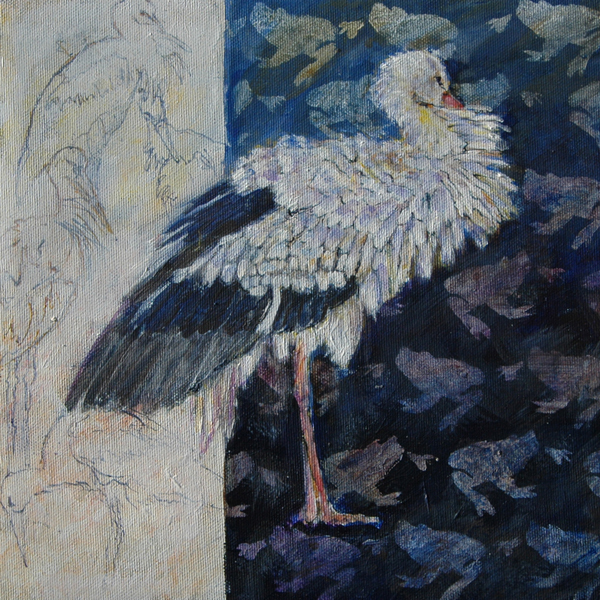 Stork 30x30x4 cm