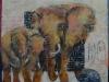 Afrikans Elefant med unge. 30x30 + ramme