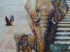 Elefantkomposition. 80x80 + ramme  SOLGT
