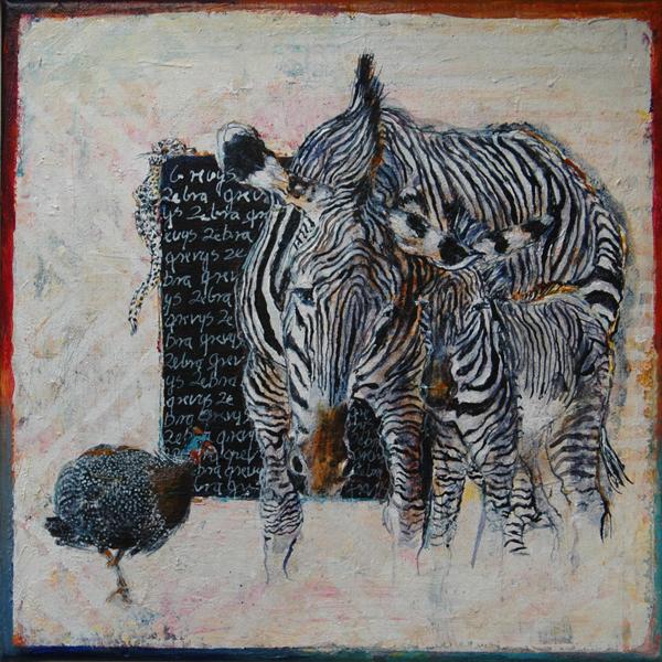 Zebra med unge, 30x30 cm