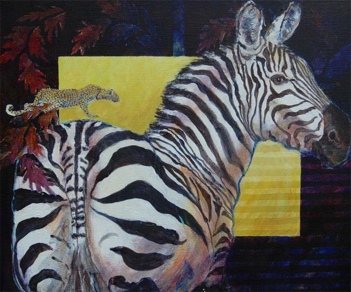 Zebraen    50x60 + ramme. SOLGT