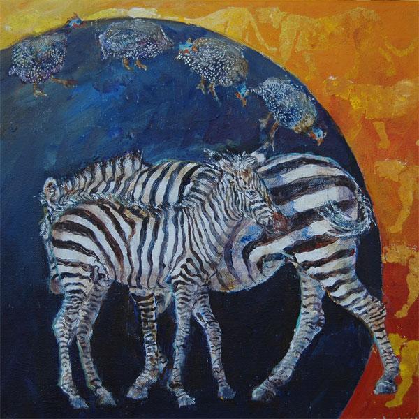 Zebrakomposition med perlehøns. 30x30 + ramme Solgt