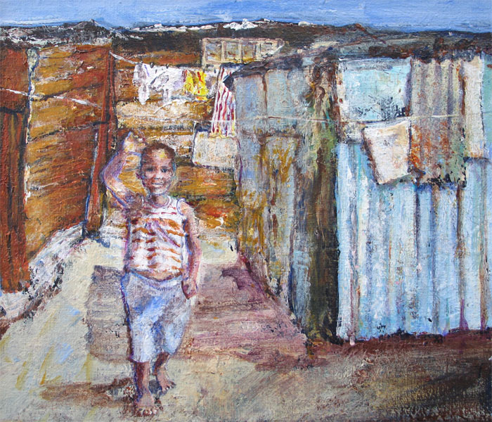 Townships, Cape Town  25x30              solgt