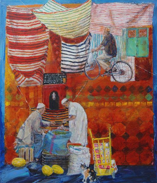 Soukliv, Fez, Marokko   65x55 + ramme.