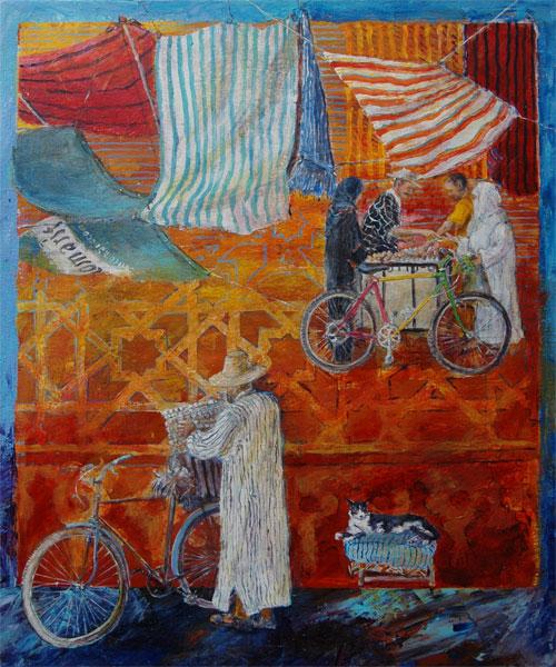 Soukliv, Marakesh, Marokko   65x55 + ramme.
