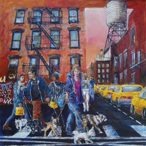 New York Walking. 50x50 + ramme.  SOLGT