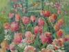 Tulipaner med Fugl    40x35 + ramme     SOLGT